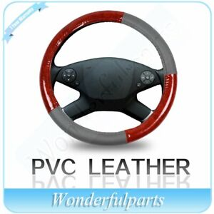Grey Brown Wood Grain Pvc Leather Vehicle Steering Wheel Cover For Chevrolet