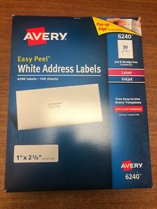 Avery Easy Peel White Address Labels 4200 Labels 140 Sheets 6240 30 Per Sheet