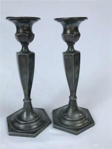 Pair Vintage Silver Plate Candlesticks Candle Holders Dark Patina Hartford