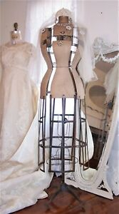 Omg 1926 Antique Dress Form mannequin cage Wheels french Display wasp Waist