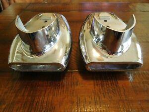 Early 1950 S Accessory Ford Mercury Bumper Dual Exhaust Tips Chrome Extensions