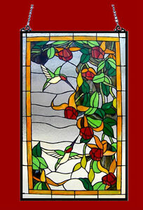 Pair Tiffany Style Stained Glass Window Panel 32 L X 20 W Hummingbirds Design