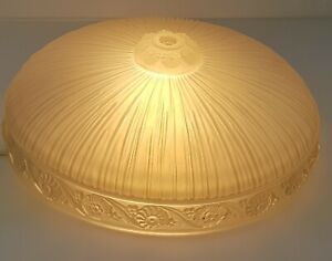 Art Deco Frosted Glass Slip Shade Chandelier Ceiling Light Fixture 12 Inch Round