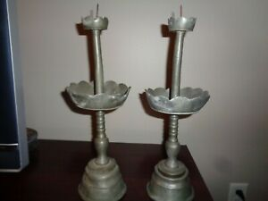 Old Metal Pewter Candlesticks Scalloped Bowl Mid Heavy Bases 2