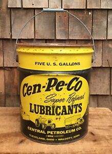 Lrg Vintage Cen pe co Lubricant Bucket Tin Can Motor Oil Gas Station 5 Gal