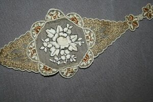 Antique Vintage Heavy Embroidery Gold Metallic Thread Ribbon Roses Net Lace Trim