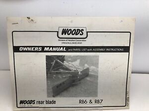1976 Woods Model Rb6 Rb7 Rear Blade Operators Manual Parts List assembly Instr