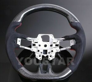 Luxury Suede Alcantara Carbon Red Stitch Steering Wheel For Ford Mustang 15 17
