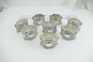 Fine Set Sterling Napkin Rings Ornate No Monos Gorgeous 925s