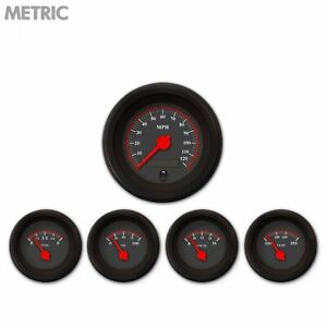 5 Gauge Set Speedo Water Oil Temp Fuelvolt Omega Black Red Led Metric Gasser