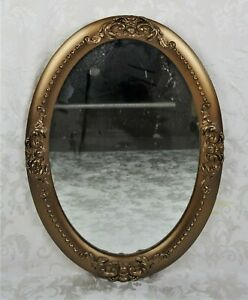 Vintage Antique Oval Wooden Frame W Gold Gesso Wall Hanging Mirror