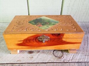 Vtg Carved Cedar Jewelry Trinket Box W Scenic Picture On Top Mirror Inside