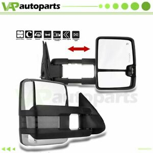 Pair For 99 02 Silverado Sierra Power Heated Led Signal Tow Side View Mirrors