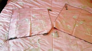 Antique Chinese Pink Silk Embroidered Coverlet Bed Cover Pillows Cranes Peonies