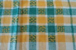 Unused Vintage Linen Tablecloth Green Yellow Country Plaid Stripe Nwt 51