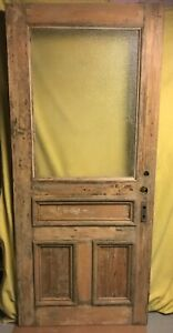 Antique Craftsman Wood Exterior French Entry Door W 3 Panels Glass 36x82