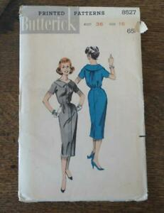 Vintage Butterick Sewing Pattern 8527 Bloused Back Spectator Dress 16
