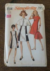 Vintage 60s Simplicity Sewing Pattern Princess Seamed Dress Cape Sz 12 8114