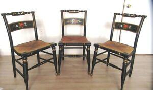 Set Of 3 Vintage Boling Chair Co Hitchcock Style Hand Painted Chairs Rush Seats