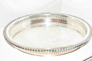 Wilcox Intl Silver Plated Round Serving Tray Vintage Brandon Hall 7571g