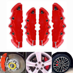 4pcs 3d Red Style Car Universal Disc Brake Caliper Covers Front