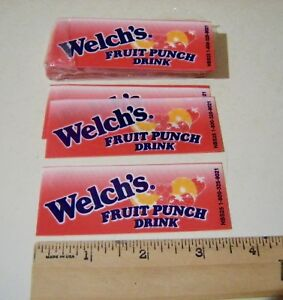 4 New Welch s Fruit Punch Drink Vending Machine Flavor Strip Cards Small