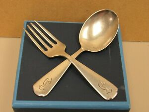 Vintage Wallace 1860 Sterling Silver Baby Set Fork Spoon With Mono 13854 Si