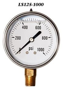 Stainless Steel Case Liquid Filled Pressure Gauge 0 1000 Psi 2 5 2 1 2 1 4 Lm