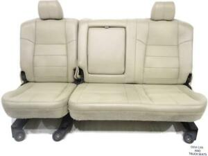Ford Super Duty F250 F350 Tan Leather Crew Cab Rear Seat 2008 2009 2010
