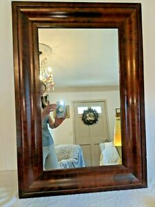 Gorgeous Antique Federal 34 1 2 Ogee Flame Mahogany Wall Mantel Mirror