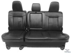 Ford Super Duty F250 F350 Black Leather Rear Seats 2011 2012 2013 2014 2015 2016