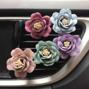 Romantic Camellia Air Freshener With Clip Car Flower Styling Perfume Vent Outlet