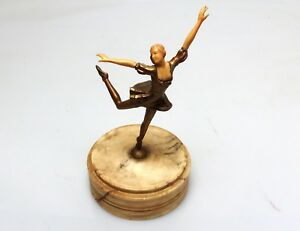 Beautiful 20 S Deco Bronze Dancer Sculpture W Celluliod Face Arms
