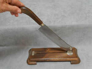 Vintage French Wood Steel Bread Cutting Board Slicer