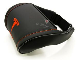 Tesla Car Seat Headrest Pillow Neck Rest Cushion Black Leather Embroidery Red