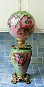 19th C Victorian Banquet Lamp Oil Kerosene Electrified Gwtw Gone With The Wind