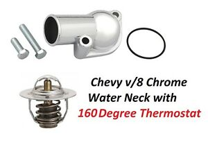 Chevy Chrome Thermostat Water Neck Thermostat Bbc Sbc 160 Degree New V8