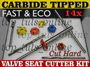 14x Valve Seat Cutter Kit Carbide Tipped With Hss Reamers Fast Economical