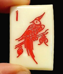Vintage Button Unusual Size Large Celluloid Mahjongg Mah Jong Tile W Red Bird