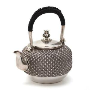 New Sterling Silver Japanese Hobnail Teapot Braided Handle Ginbin Sencha 600ml