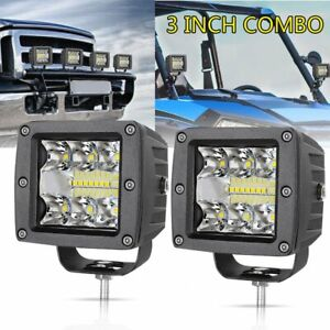 2x 3inch Cree 120w Led Work Lights Cubes Flood Spot Combo Off Road 12v 4