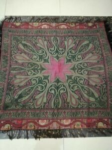 Antique French Paisley Kashmir Square Piano Shawl Wool Size44 X44 Multicolor