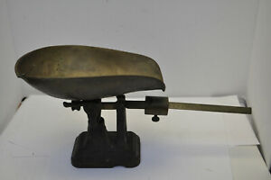Antique Late 1800 S Fairbanks Cast Iron Brass Balance Slide Counter Scale