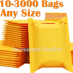 100 4000 Kraft Mailer Bubble Mailers Padded Envelope 6x9 8 5x11 9x12 5x7 3x5 4x6