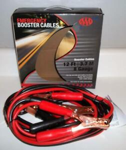 Aaa Emergency Booster Jumper Cables 12 Ft 8 Gauge Fits Top And Side Terminals