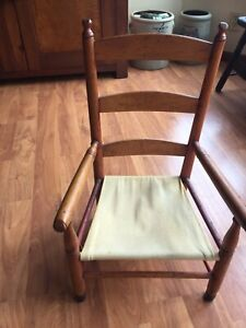 Antique Primitive 23 Laddler Back Childs S Chair Worn Red Paint Canvas Seat
