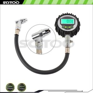5 75psi Air Tire Pressure Gauge Dial Meter Tester With Dual Head Chuck Case New