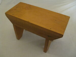 Small Vintage Bench Wood Foot Stool Childs Stool Rustic Farmhouse Milking