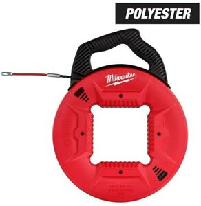 Milwaukee Polyester Fish Tape 100 ft Flexible Metal Leader Anti catch Tip Handle
