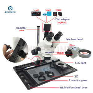 3 5x 90x Stereo Zoom Microscope With 21mp Microscope Camera For Phone Repair
